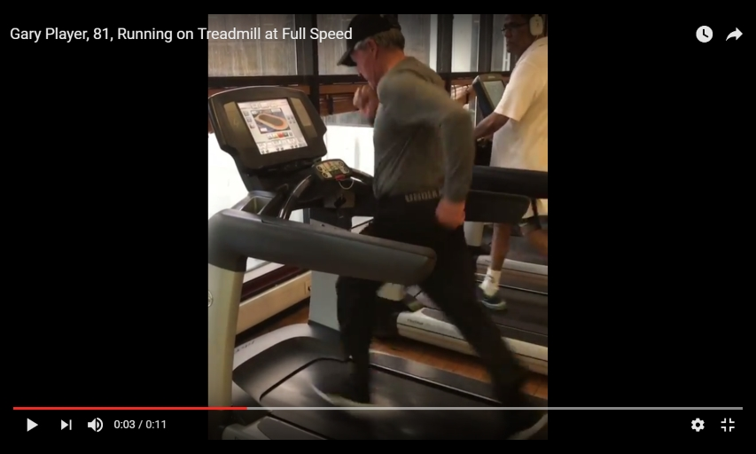Gary Player sprinting on treadmill