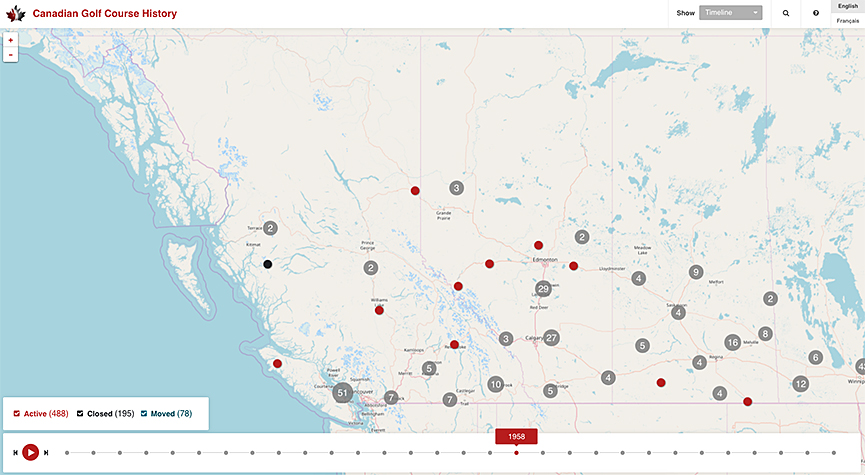 Interactive History Map Of Golf Courses In Canada