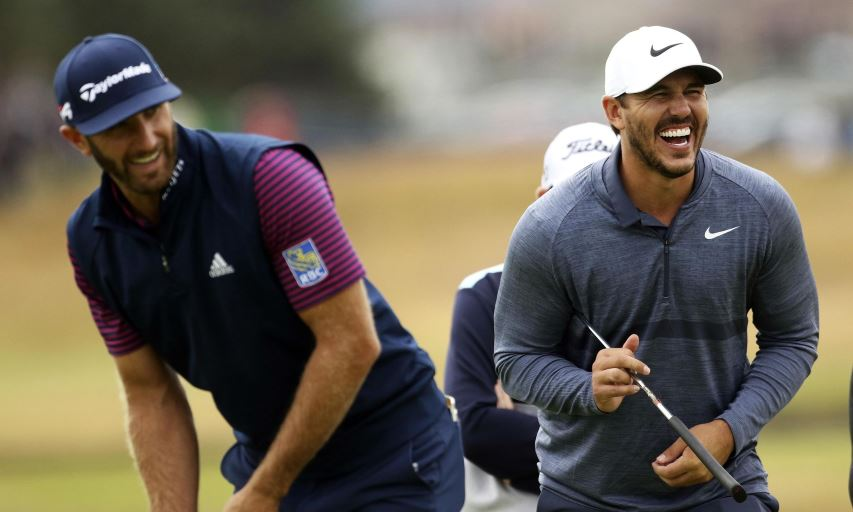 Dustin Johnson and Brooks Koepka at the 2018 British Open