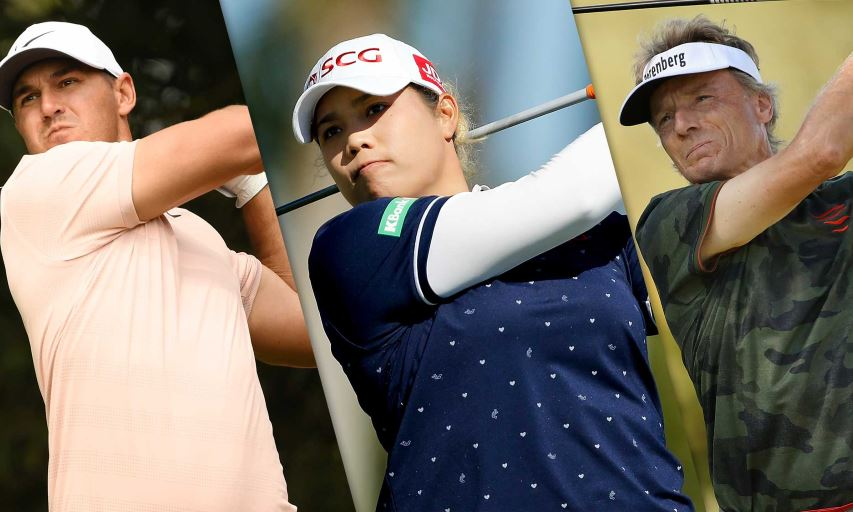 Brooks Koepka, Ariya Jutanugarn and Bernhard Langer