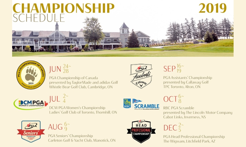 2019 PGA of Canada National Championship Schedule