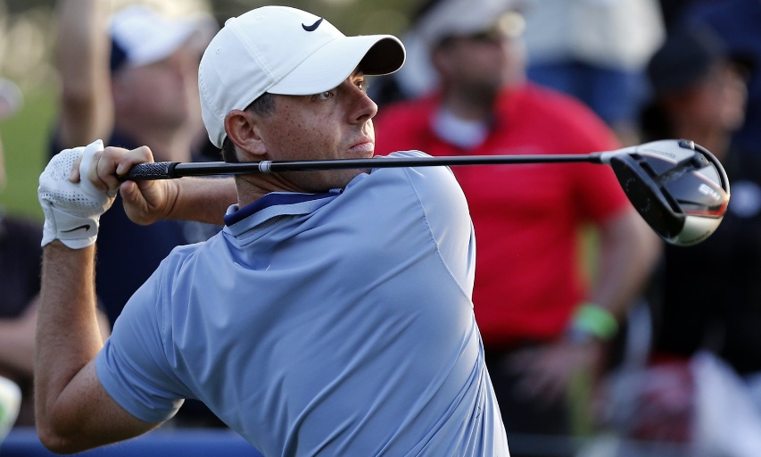 da4f234f149 Rory McIlroy hits his tee shot on the 18th hole during the second round of  The Players Championship. (AP Photo Gerald Herbert)